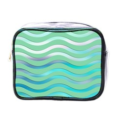 Abstract Digital Waves Background Mini Toiletries Bags