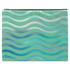Abstract Digital Waves Background Cosmetic Bag (xxxl)