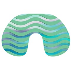Abstract Digital Waves Background Travel Neck Pillows