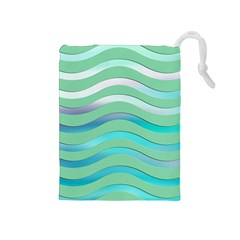 Abstract Digital Waves Background Drawstring Pouches (medium)