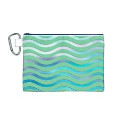 Abstract Digital Waves Background Canvas Cosmetic Bag (m)