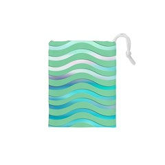 Abstract Digital Waves Background Drawstring Pouches (xs)