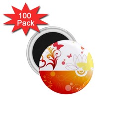 Spring Butterfly Flower Plant 1 75  Magnets (100 Pack)