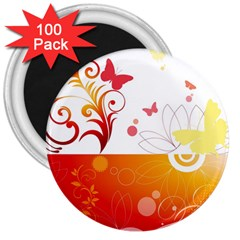 Spring Butterfly Flower Plant 3  Magnets (100 Pack)