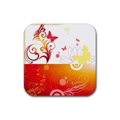 Spring Butterfly Flower Plant Rubber Coaster (square)