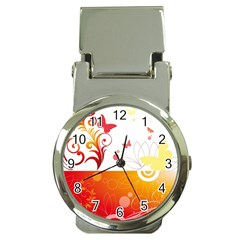 Spring Butterfly Flower Plant Money Clip Watches