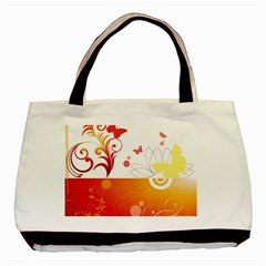Spring Butterfly Flower Plant Basic Tote Bag