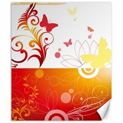 Spring Butterfly Flower Plant Canvas 20  X 24