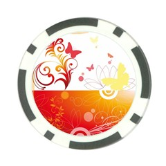 Spring Butterfly Flower Plant Poker Chip Card Guard