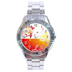 Spring Butterfly Flower Plant Stainless Steel Analogue Watch