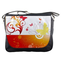 Spring Butterfly Flower Plant Messenger Bags
