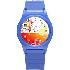 Spring Butterfly Flower Plant Round Plastic Sport Watch (s)