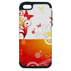 Spring Butterfly Flower Plant Apple Iphone 5 Hardshell Case (pc+silicone)