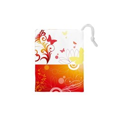 Spring Butterfly Flower Plant Drawstring Pouches (xs)