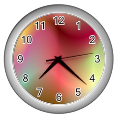 Colorful Colors Wave Gradient Wall Clocks (silver)