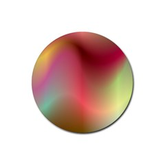 Colorful Colors Wave Gradient Rubber Round Coaster (4 Pack)