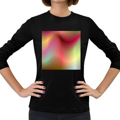 Colorful Colors Wave Gradient Women s Long Sleeve Dark T Shirts