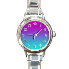 Background Pink Blue Gradient Round Italian Charm Watch