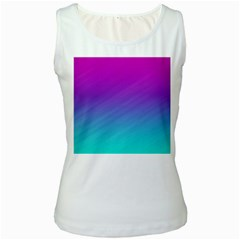 Background Pink Blue Gradient Women s White Tank Top