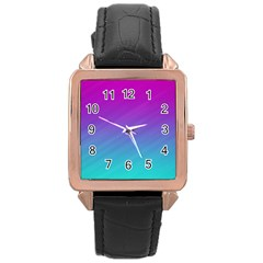 Background Pink Blue Gradient Rose Gold Leather Watch