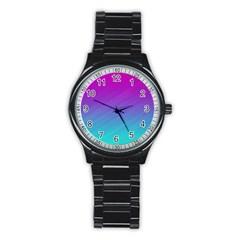 Background Pink Blue Gradient Stainless Steel Round Watch