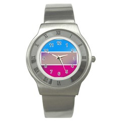 Pattern Template Banner Background Stainless Steel Watch