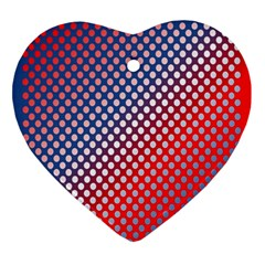 Dots Red White Blue Gradient Ornament (heart)