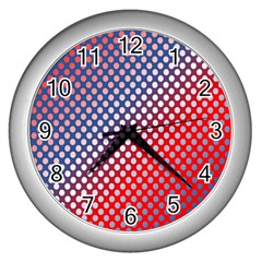 Dots Red White Blue Gradient Wall Clocks (silver)