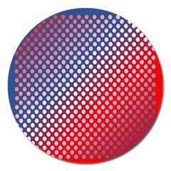 Dots Red White Blue Gradient Magnet 5  (round)