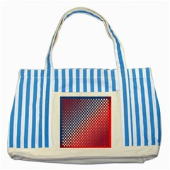 Dots Red White Blue Gradient Striped Blue Tote Bag