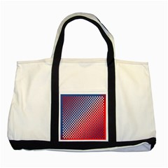 Dots Red White Blue Gradient Two Tone Tote Bag