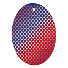 Dots Red White Blue Gradient Oval Ornament (two Sides)