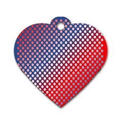 Dots Red White Blue Gradient Dog Tag Heart (two Sides)