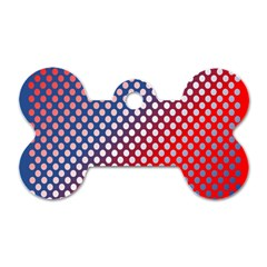 Dots Red White Blue Gradient Dog Tag Bone (two Sides)