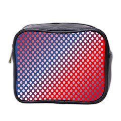 Dots Red White Blue Gradient Mini Toiletries Bag 2 Side
