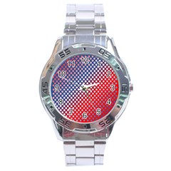Dots Red White Blue Gradient Stainless Steel Analogue Watch
