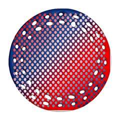 Dots Red White Blue Gradient Round Filigree Ornament (two Sides)