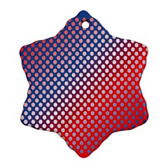 Dots Red White Blue Gradient Snowflake Ornament (two Sides)