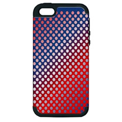 Dots Red White Blue Gradient Apple Iphone 5 Hardshell Case (pc+silicone)