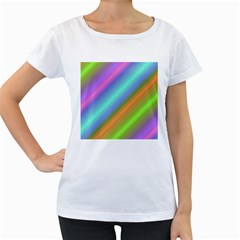 Background Course Abstract Pattern Women s Loose Fit T Shirt (white)