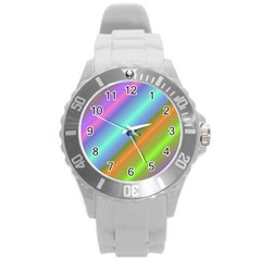 Background Course Abstract Pattern Round Plastic Sport Watch (l)