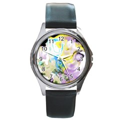 Watercolour Watercolor Paint Ink Round Metal Watch