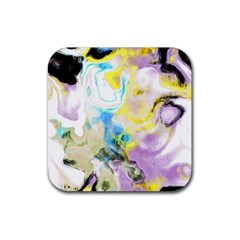 Watercolour Watercolor Paint Ink Rubber Coaster (square)