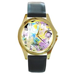 Watercolour Watercolor Paint Ink Round Gold Metal Watch