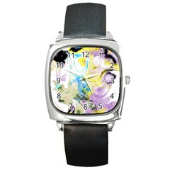 Watercolour Watercolor Paint Ink Square Metal Watch