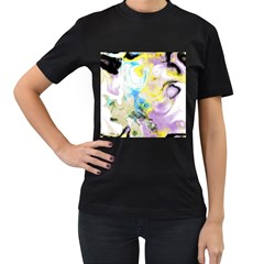 Watercolour Watercolor Paint Ink Women s T Shirt (black) (two Sided)