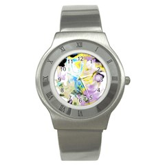 Watercolour Watercolor Paint Ink Stainless Steel Watch
