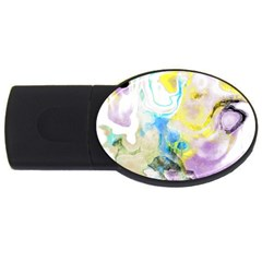 Watercolour Watercolor Paint Ink Usb Flash Drive Oval (4 Gb)
