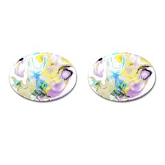 Watercolour Watercolor Paint Ink Cufflinks (oval)
