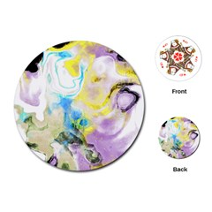 Watercolour Watercolor Paint Ink Playing Cards (round)